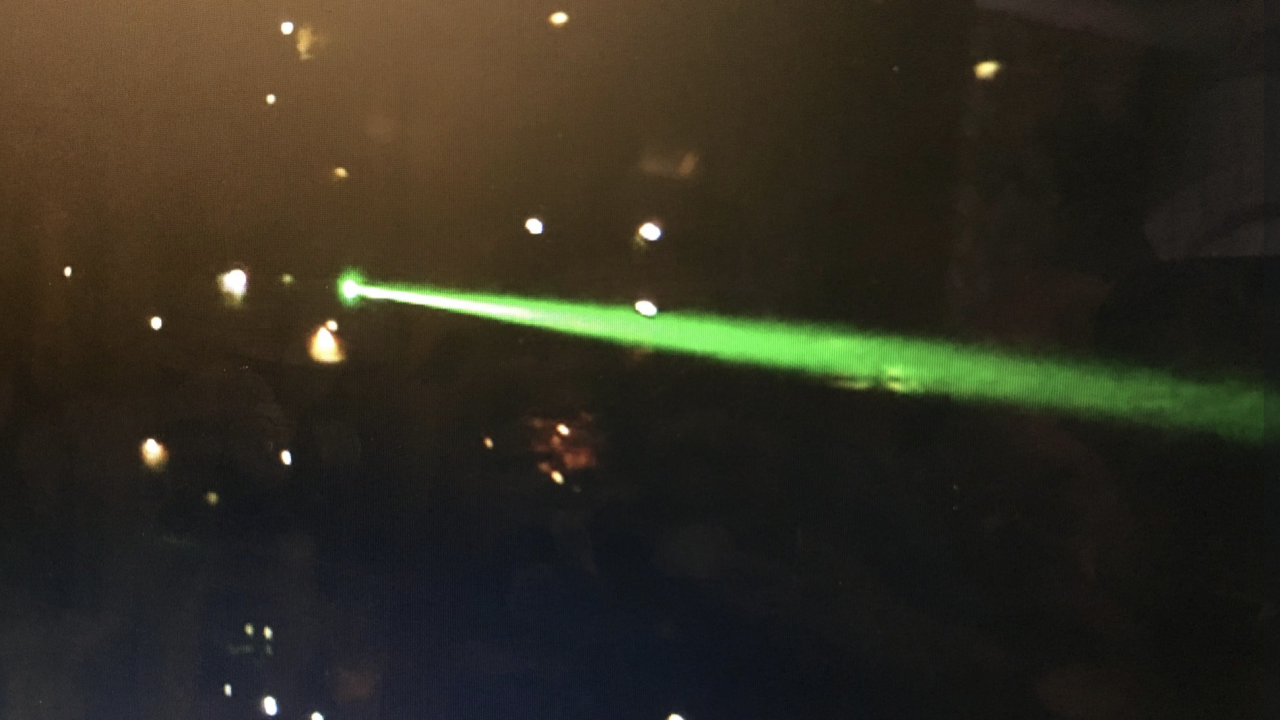 Laser strike to plane
