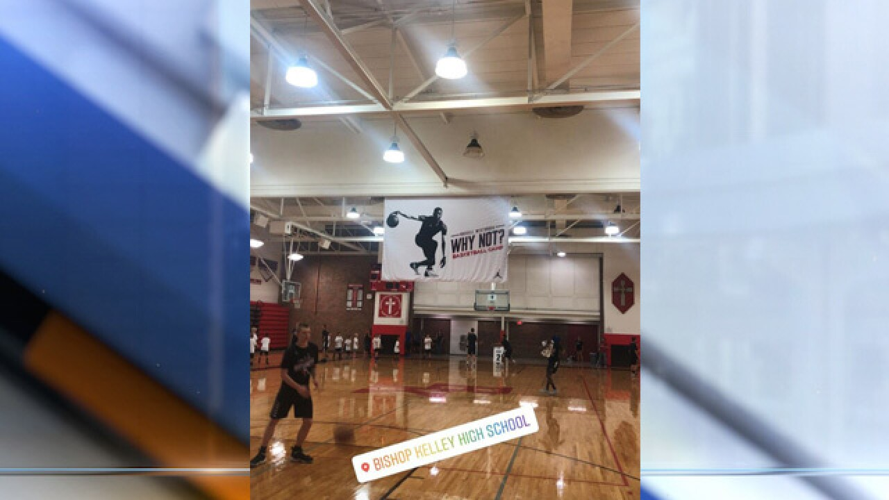 Russell Westbrook at Bishop Kelley High School in Tulsa for basketball camp
