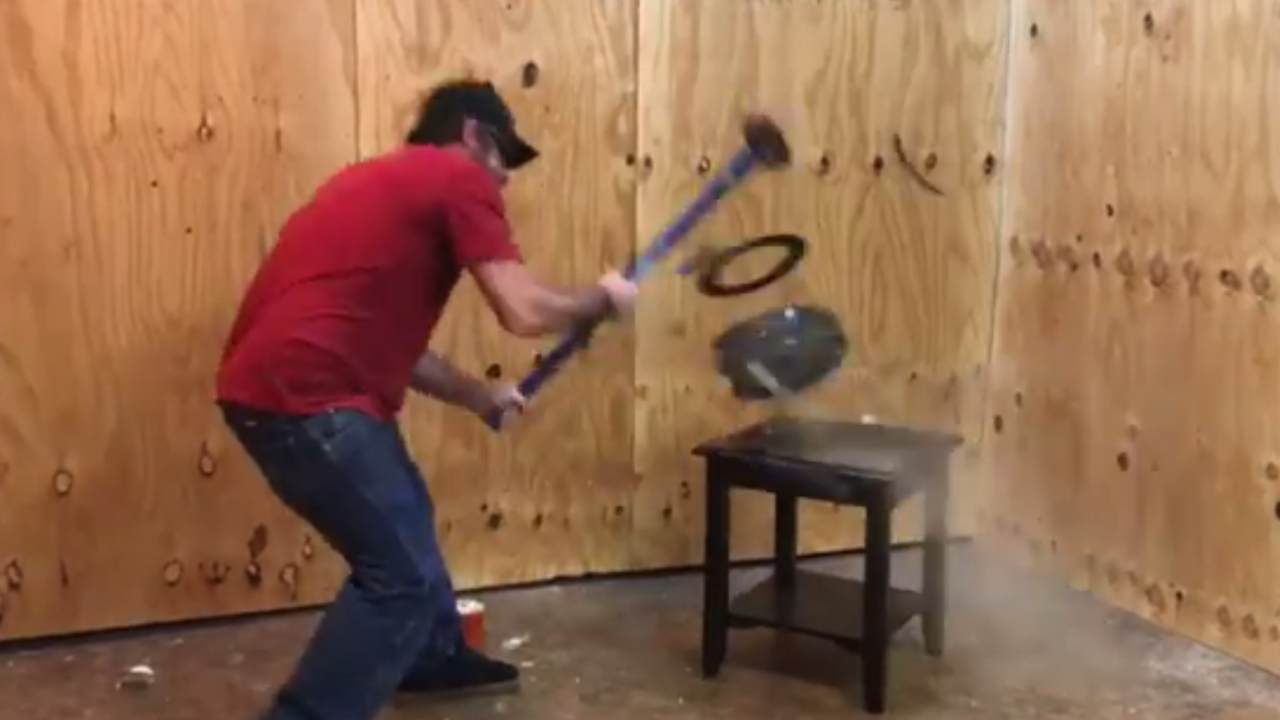 The Destruction Room in Virginia Beach lets you relieve stress by smashingthings