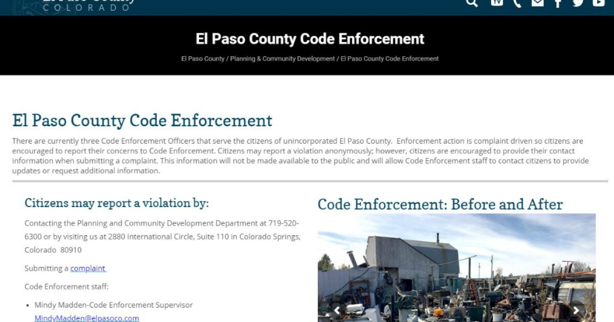 El Paso County citizens can now submit code violations online
