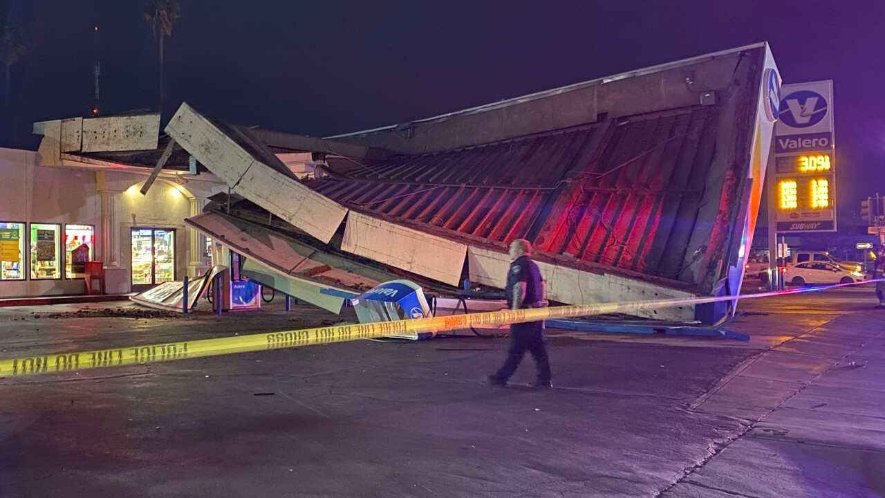 Canopy at gas station partially collapses