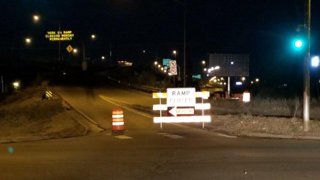 I-70 expansion shuts down York Street ramp