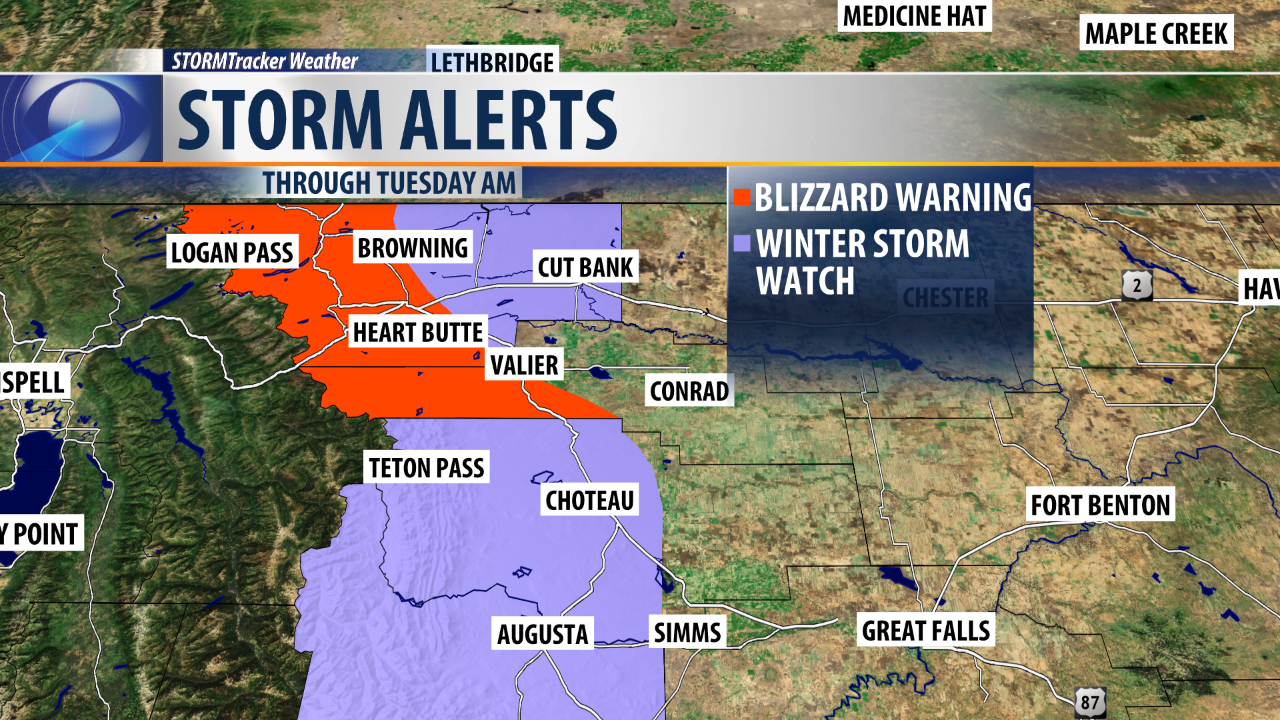NWS issues Blizzard Warning for areas along northern Rocky Mountain Front