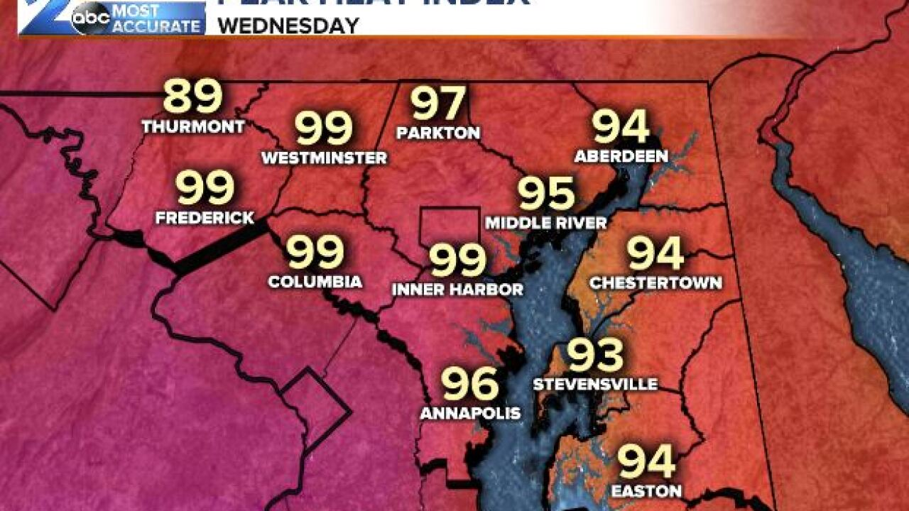 Peak Heat Index Wednesday