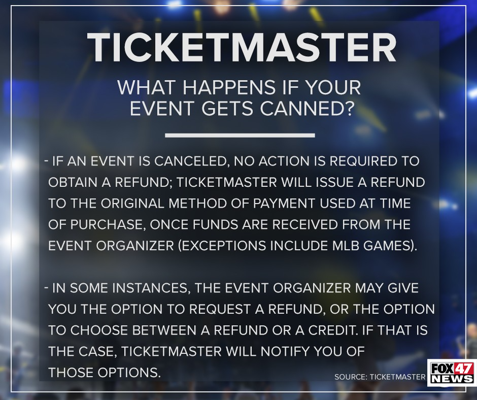 With Ticketmaster, what happens if your event gets canceled?