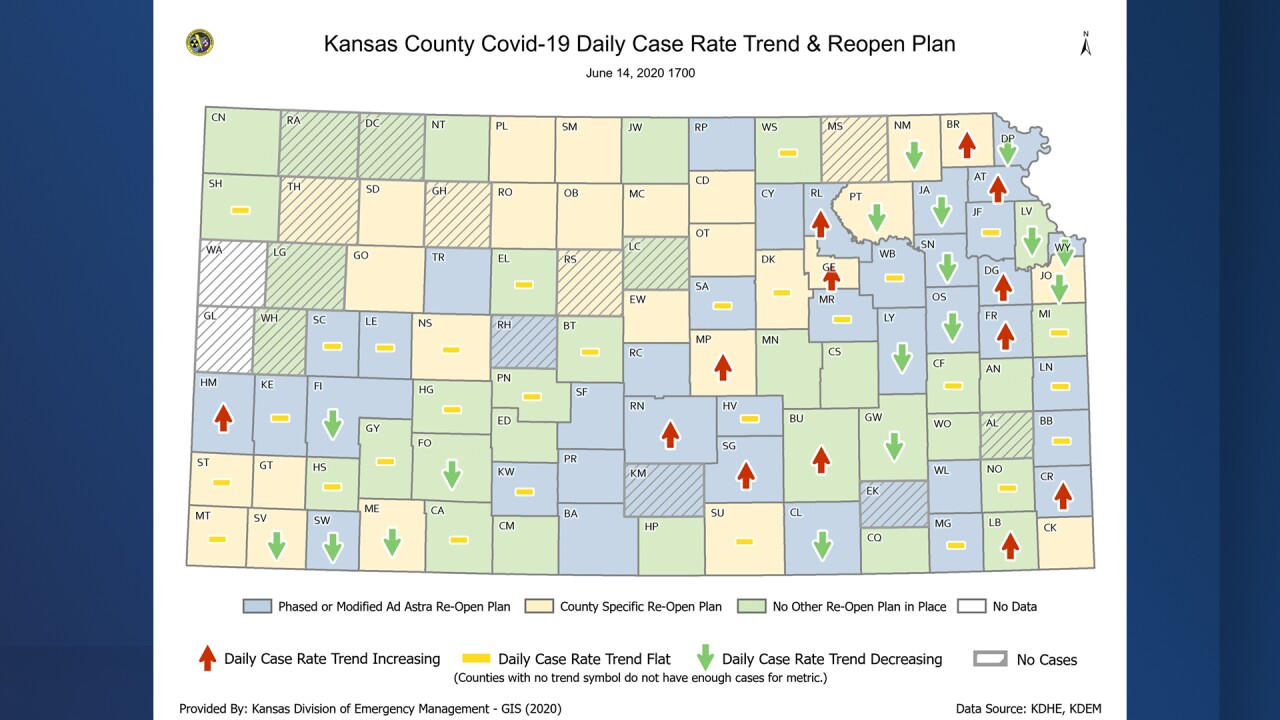 Kansas Map With Counties 13 Kansas counties have increasing COVID 19 rates, data shows