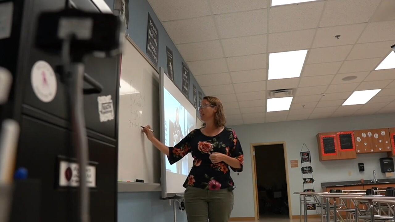 South Fork High School math teacher Kyle Gorton uses a classroom camera to teach quarantined students on Sept. 14, 2021.jpg