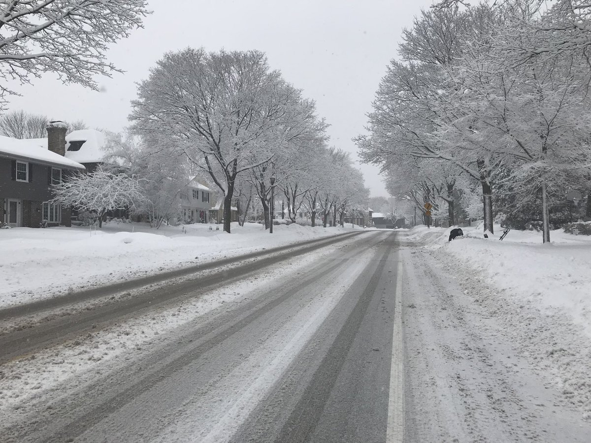 Snow-covered road Tuesday in Milwaukee area