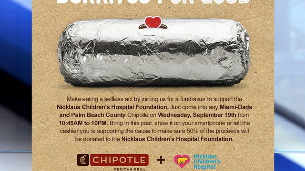 Eat at Chipotle in Palm Beach County to support Nicklaus Children's Hospital