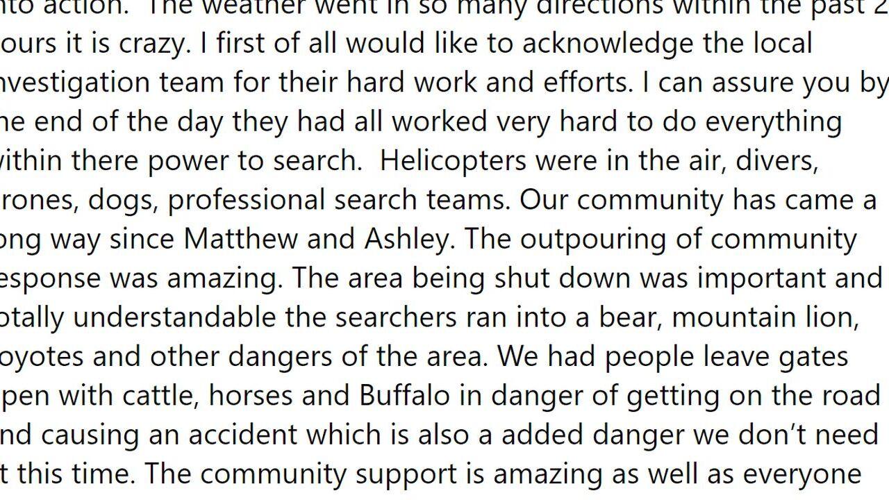 A volunteer searcher shared information on Facebook