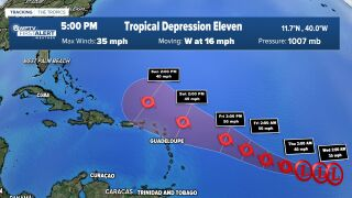 Tropical Depression Eleven 5 p.m. Aug. 11, 2020