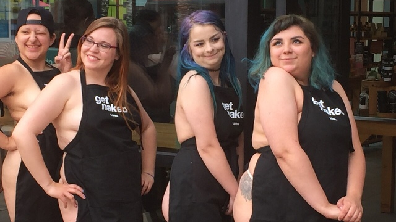 Lush employees work naked for a cause