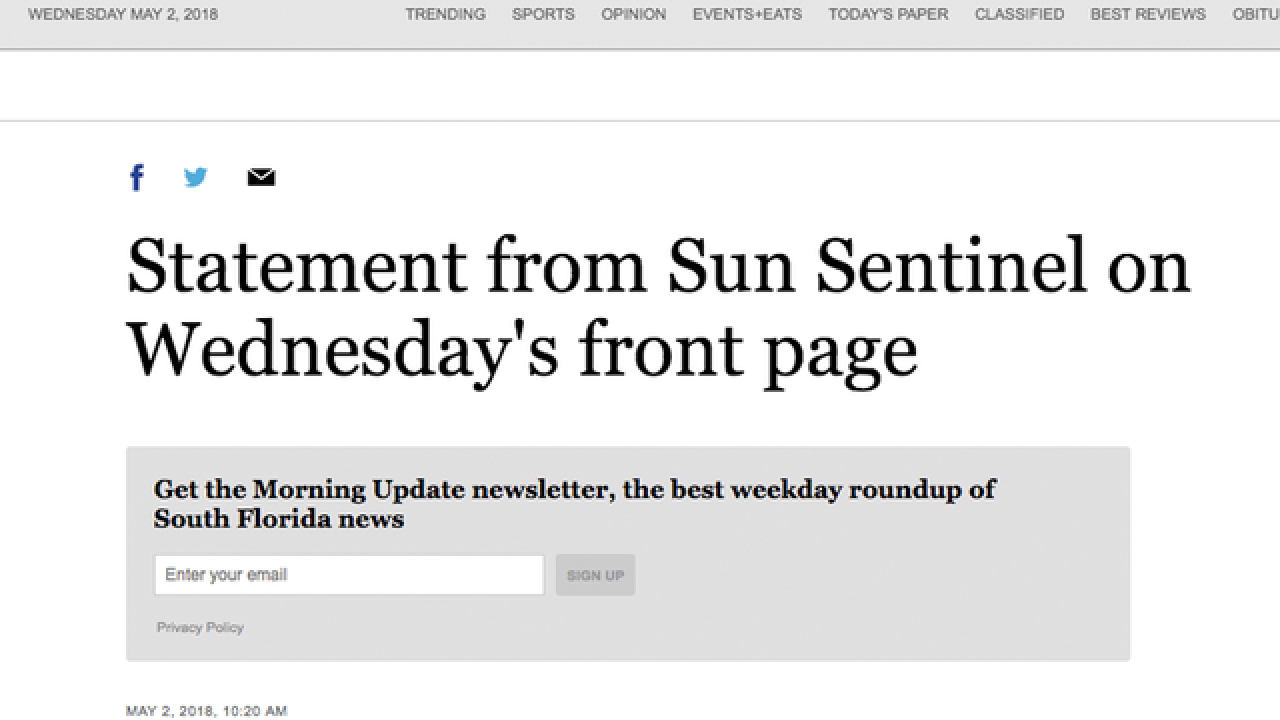 Sun Sentinel newspaper apologizes for gun ad placed near shooting stories