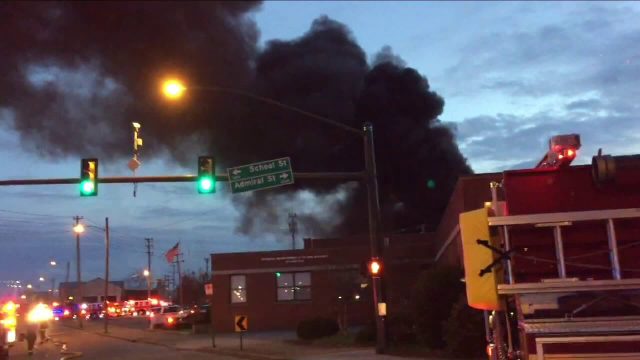 warehouse fire in Richmond