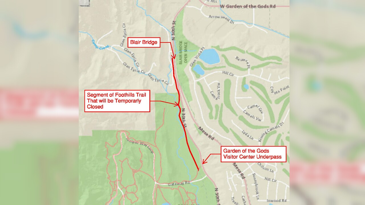 Portion of Foothills Trail in Garden of the Gods Park to close July 29-August 26
