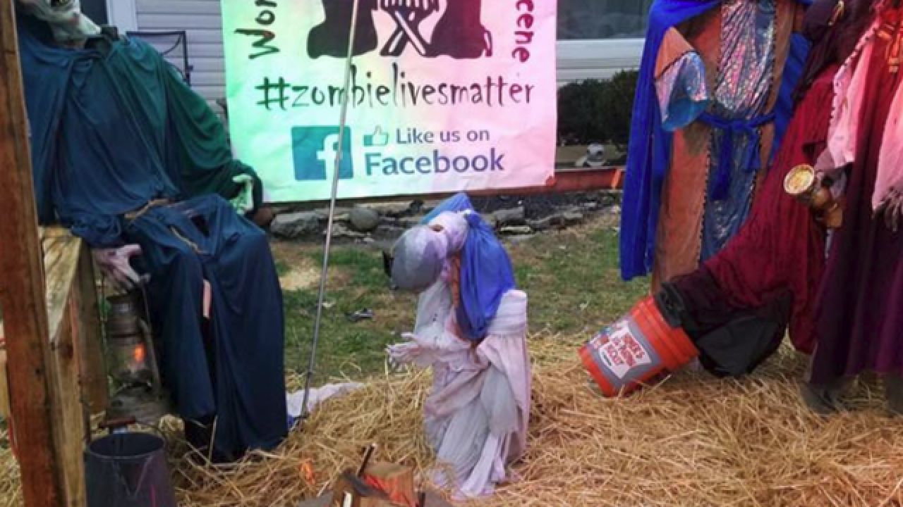 Zombie nativity scene attacked by vandals