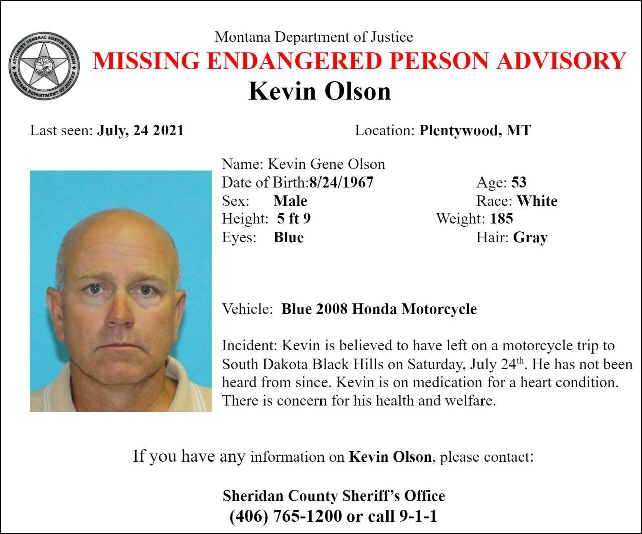 Missing/Endangered Person Advisory for Kevin Olson