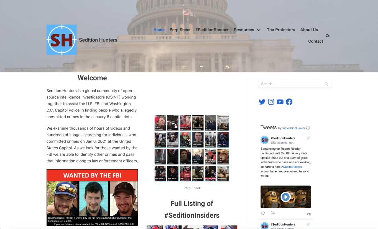 Sedition Hunters is a group whose goal is to assist the FBI in identifying those who committed crimes during the capitol insurrection