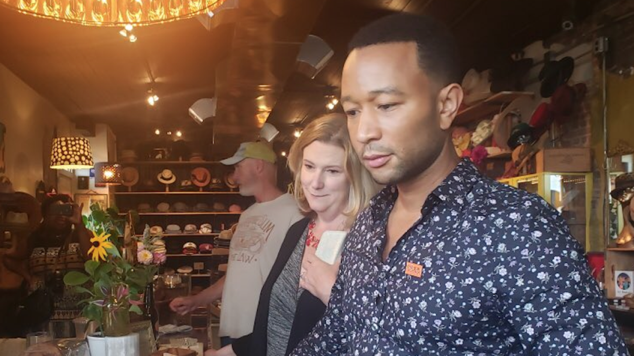 John Legend with Nan Whaley in Dayton discussing gun reform