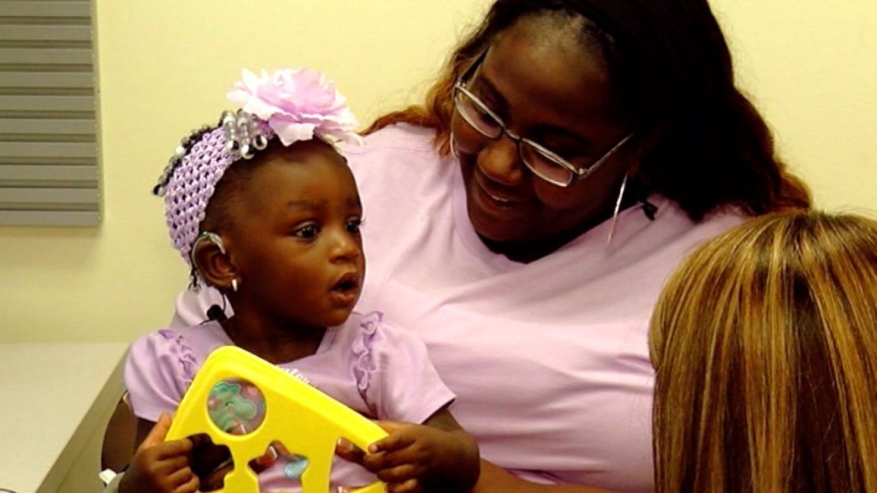 Deaf toddler in Florida hears her mom say 'I love you' for first time