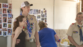 Eagle Scout saves woman from burning car, receives heroism award