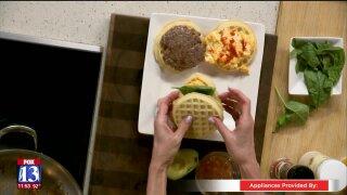 Beef Sausage and Egg Waffle BreakfastSandwich