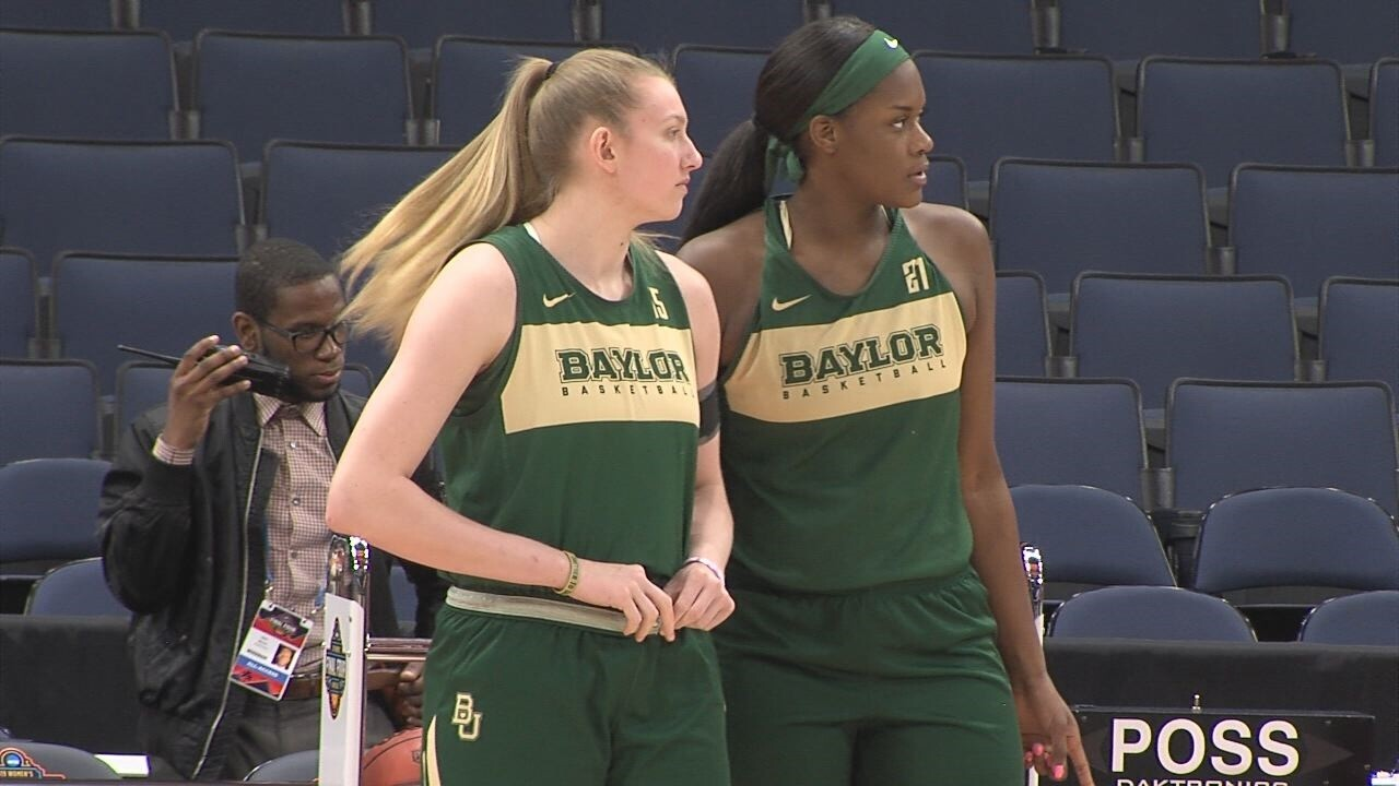 Baylor women's basketball Kalani Brown and Lauren Cox last game together.jpg