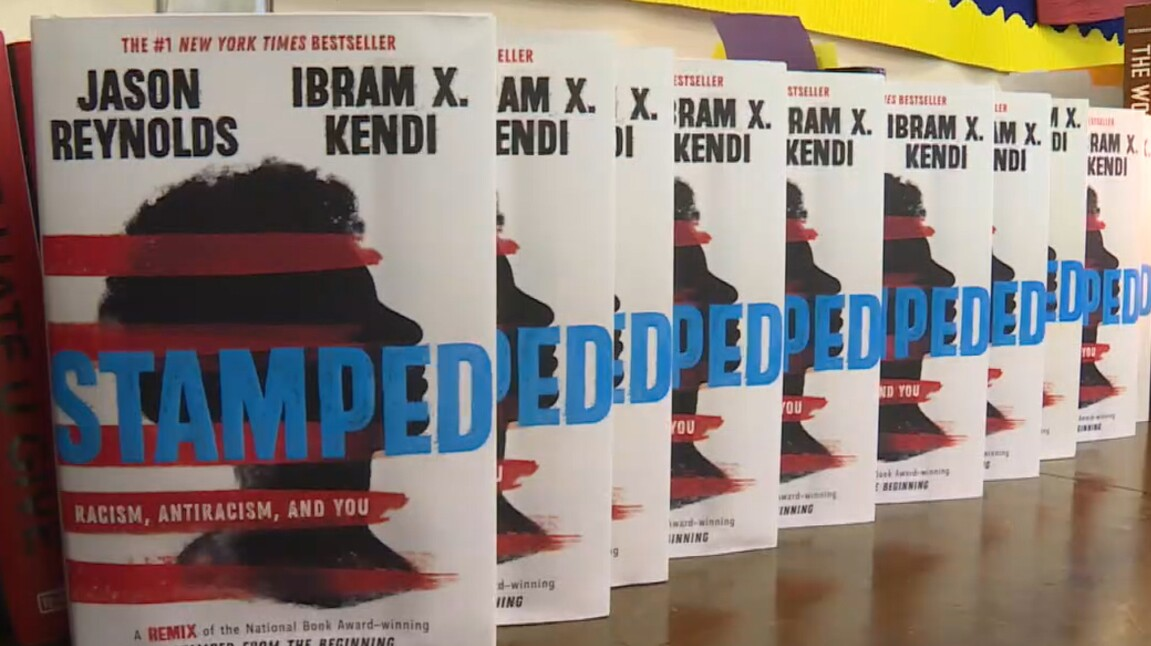 Copies of _Stamped_ Racism, Antiracism, and You_ in a classroom at Riviera Beach Preparatory and Achievement Academy on June 22, 2021.jpg