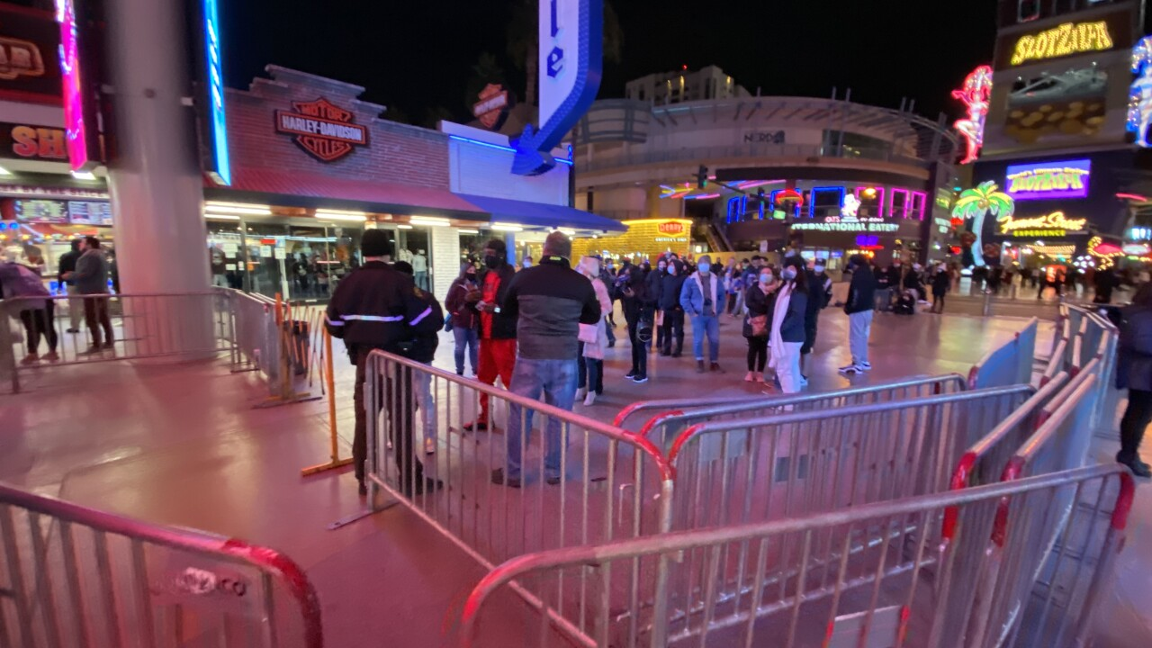 The Fremont Street Experience is located in the heart of downtown Las Vegas as seen in Dec. 2020