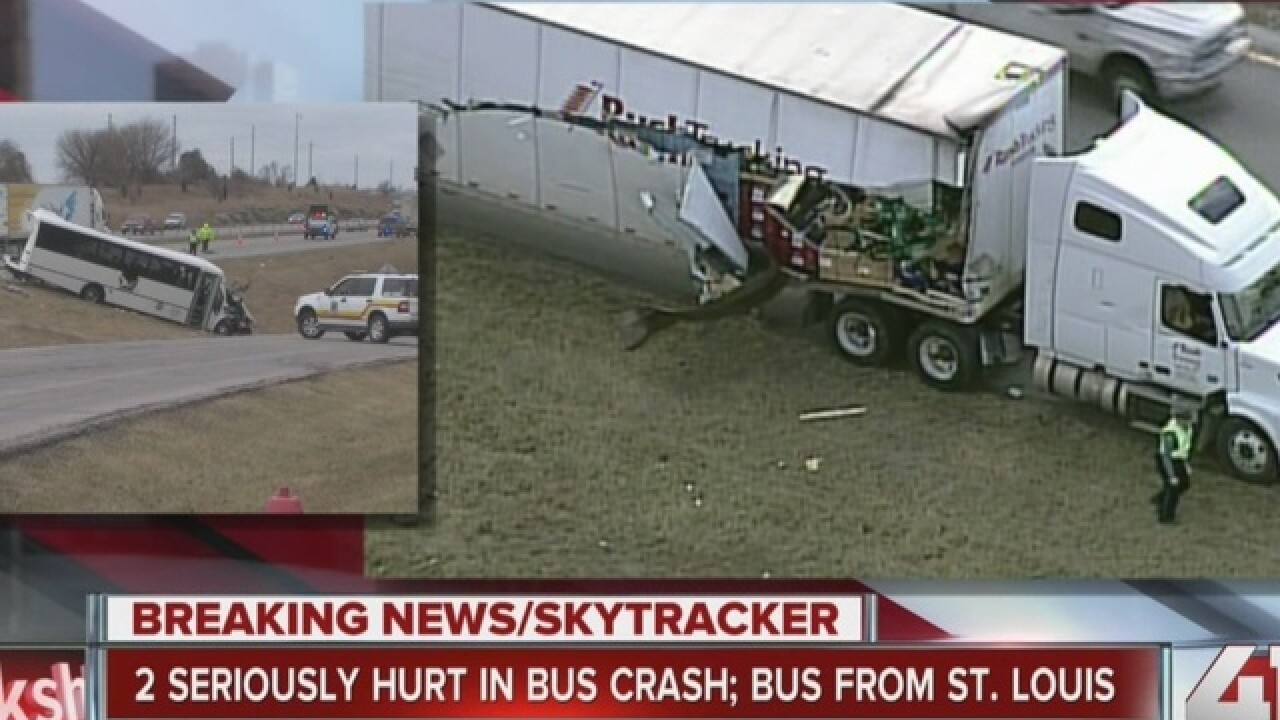 Semi, tour bus smash on WB I-70 in Blue Springs