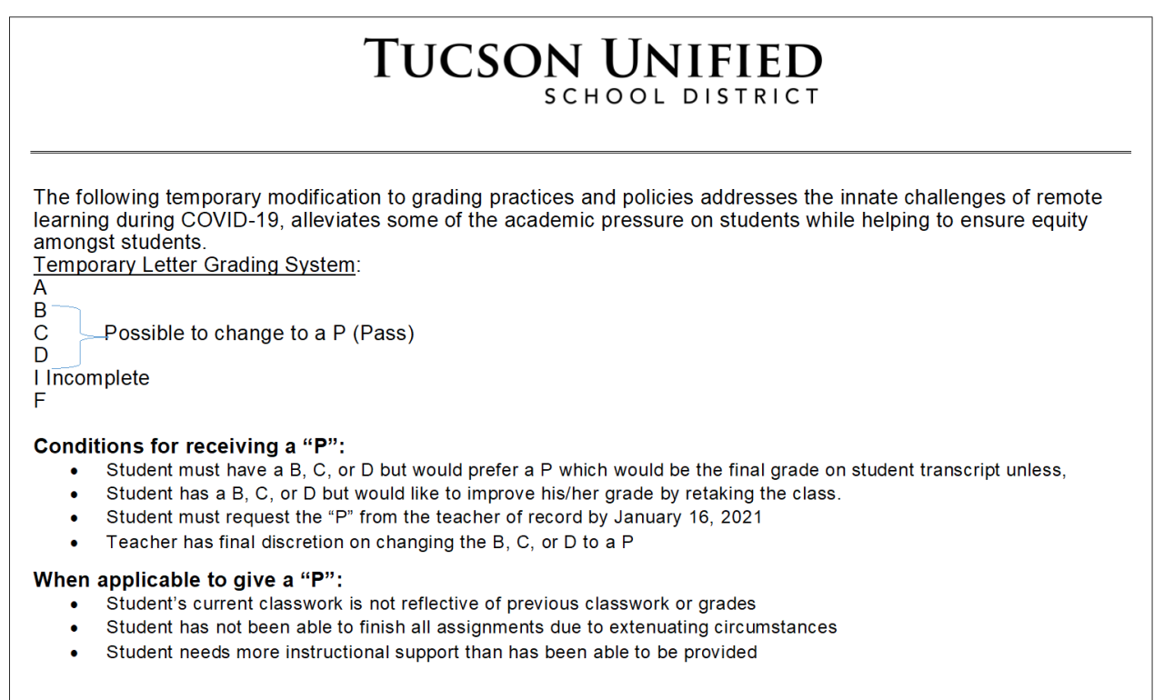 Tucson Unified School District memo on grading policy changes
