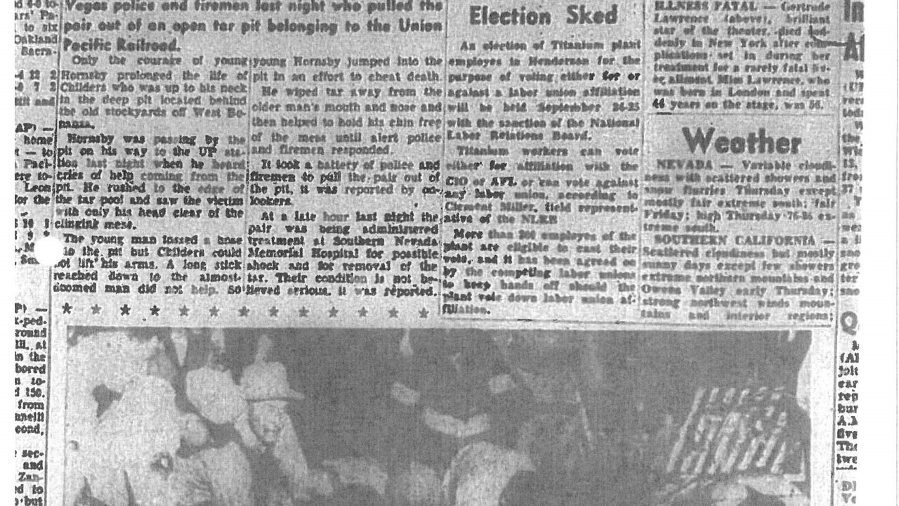 This is an article from the Las Vegas Review Journal in 1952 after two people were pulled out of the pit used to dispose of chemicals and other substances related to railroad operations. The site would become the current day Clark County Government Center according to attorney Craig Mueller.