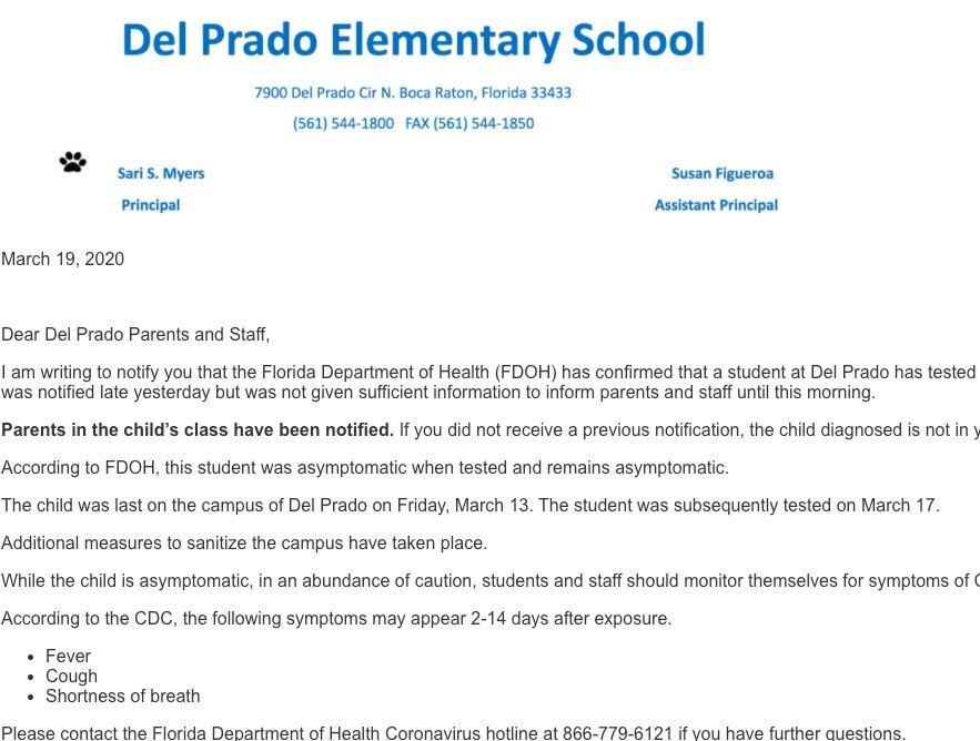 Del Prado Elementary School letter to parents about student diagnosed with coronavirus