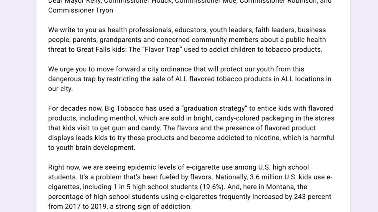 Letter urges Great Falls City Commission to consider ban on flavored nicotine