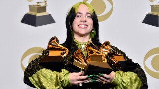 "Billie Eilish, winner of Record of the Year for ""Bad Guy"", Album of the Year for ""when we all fall asleep, where do we go?"", Song of the Year for ""Bad Guy"", Best New Artist and Best Pop Vocal Album for ""when we all fall asleep, where do we go?"", poses in the press room during the 62nd Annual GRAMMY Awards at STAPLES Center on January 26, 2020 in Los Angeles, California."