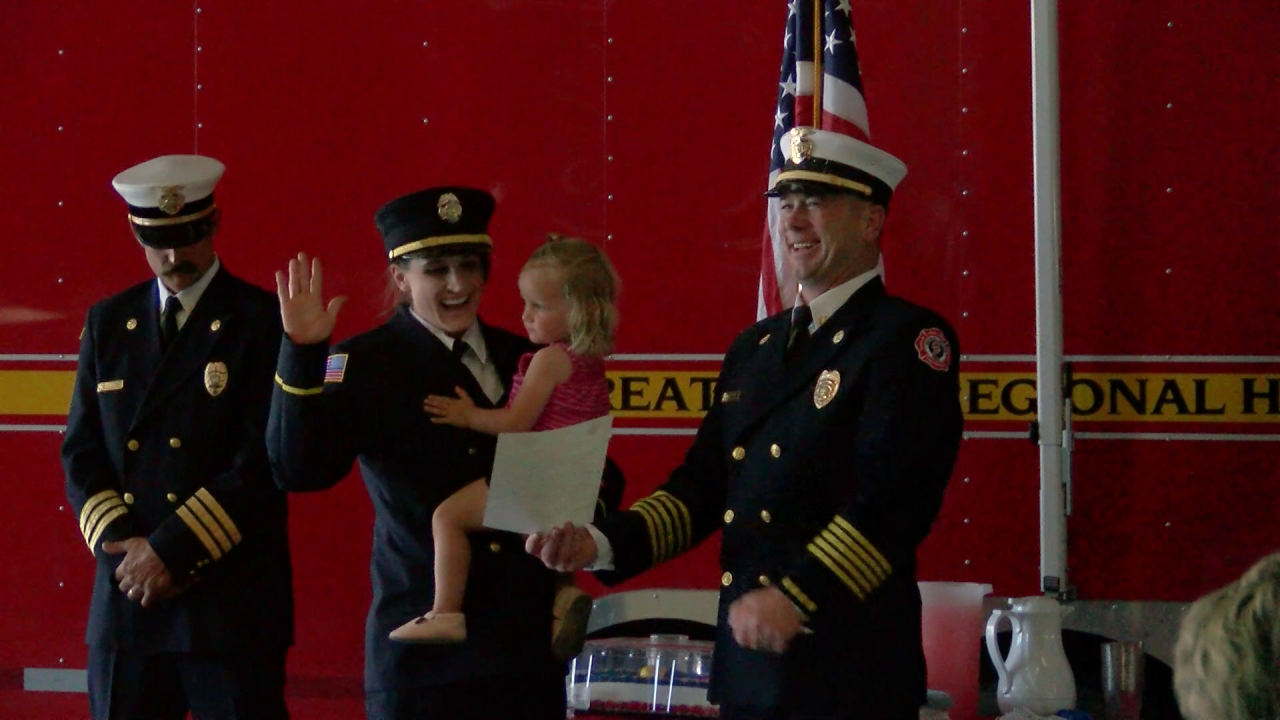 Maren Reilly took the oath of office on Tuesday and became the first female fire officer at Great Falls Fire Rescue