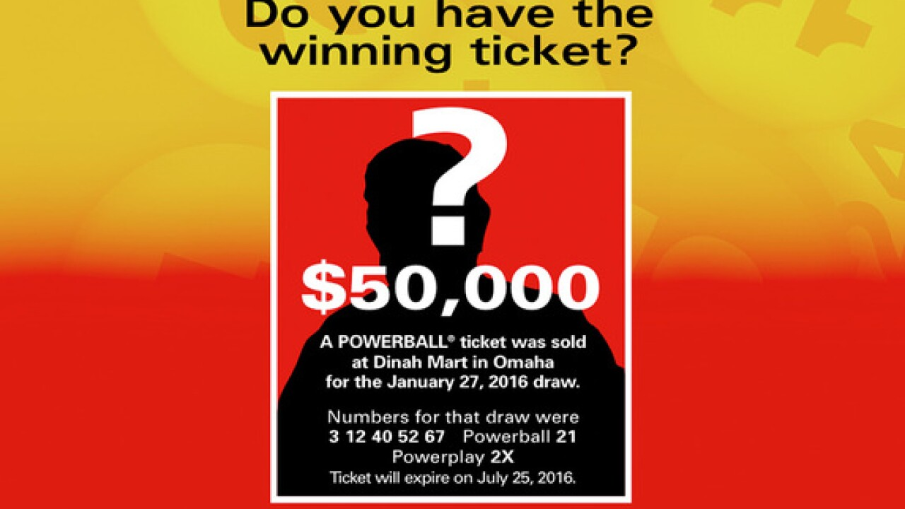Winning NE Powerball ticket worth $50,000 set to expire