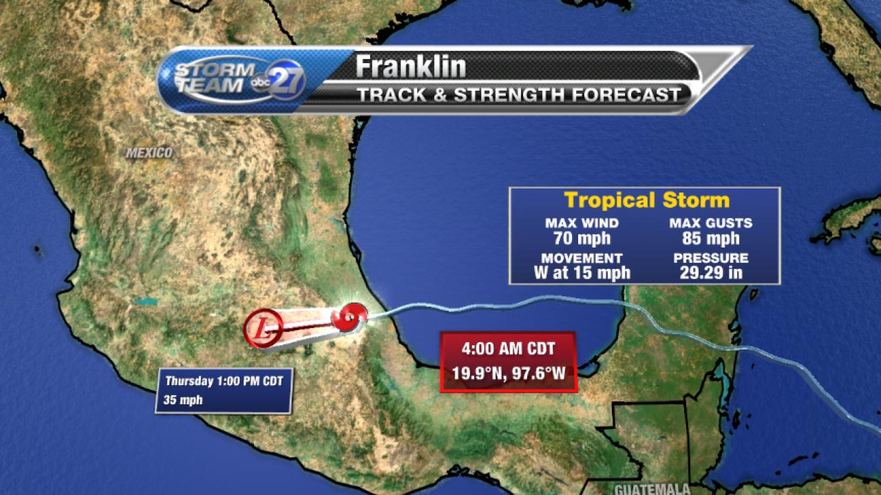Tropical Storm Franklin Forecast track (08/10/2017)