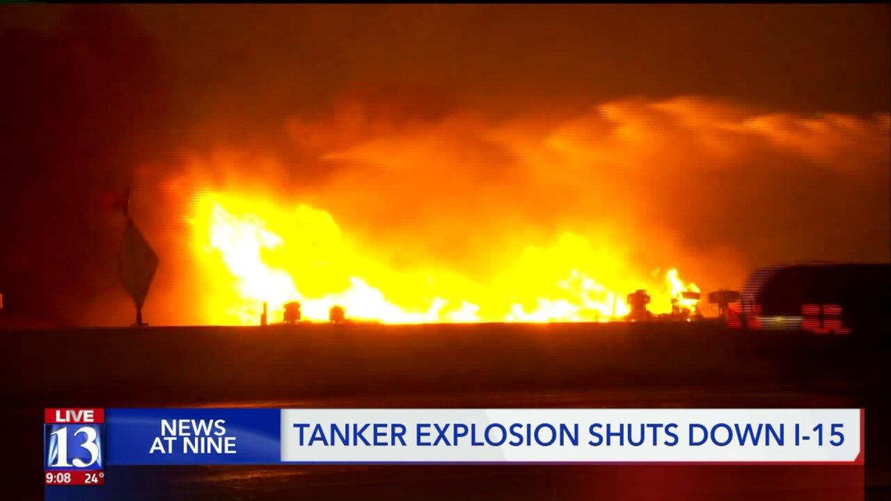 Dash cam video shows first moments of fiery tanker crash on I-15