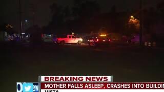 Mother falls asleep, crashes into Vista building