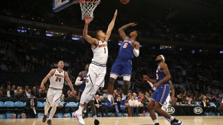NEW YORK, NEW YORK - DECEMBER 05: Michael Porter Jr. #1 of the Denver Nuggets tries to block a shot from Elfrid Payton #6 of the New York Knicks in the fourth quarter at Madison Square Garden on December 05, 2019 in New York City.