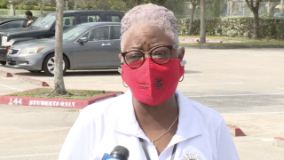 Verdenia Baker wearing county-issued mask