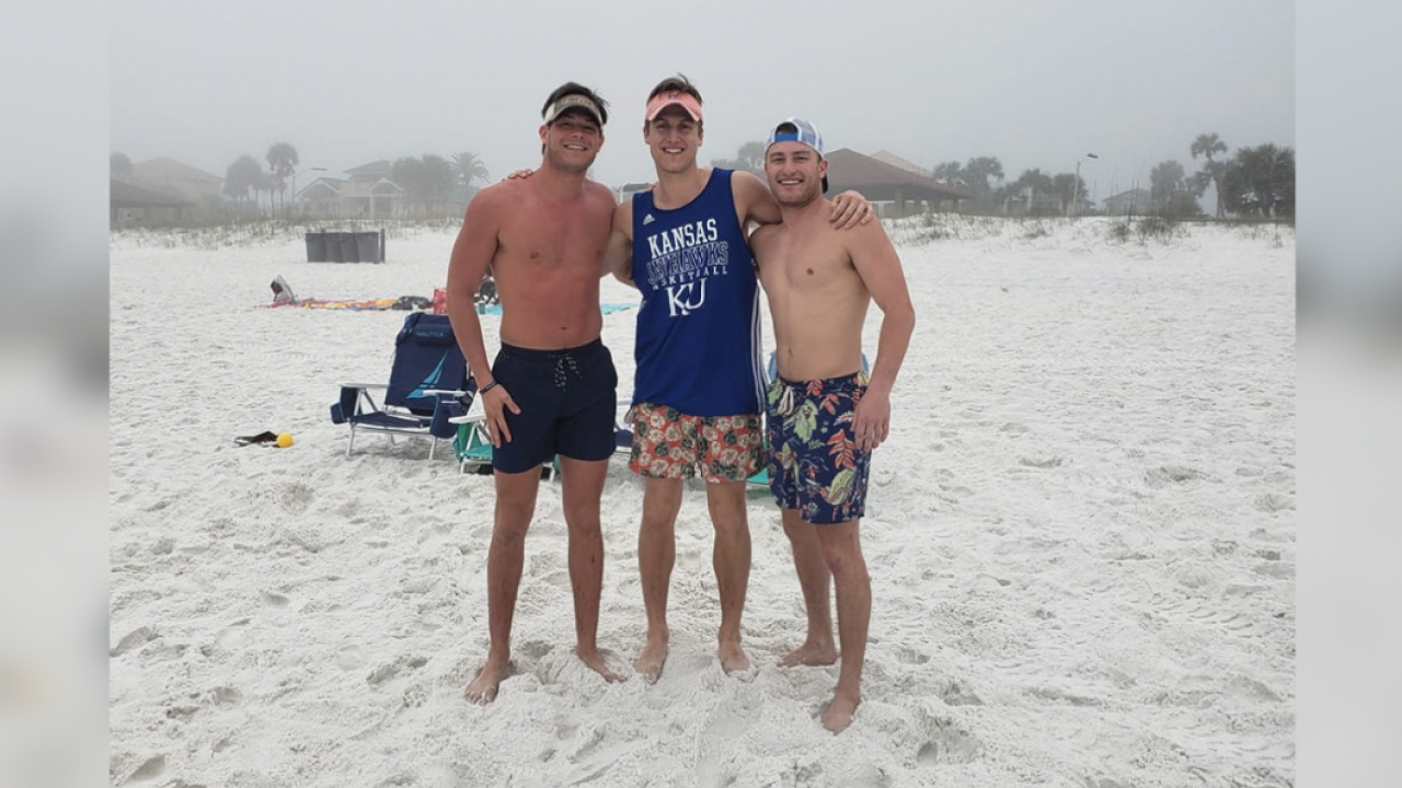 Jared Cox, Connor Churchill and Cole Firmature, who are all in Sig Ep at KU, jumped into the water to save a young boy while on spring break. Photo via Kaci Gilchrist.