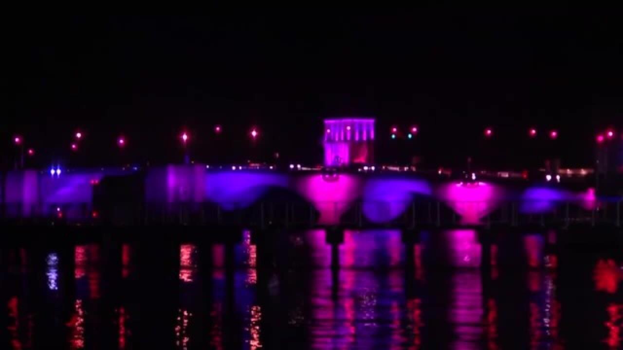 Royal Park Bridge glowing pink