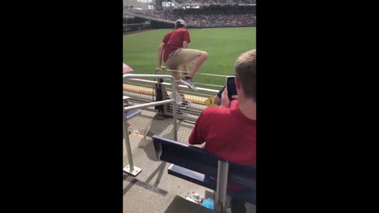 College World Series: Fan jumps onto field, immediately leveled by grounds crew