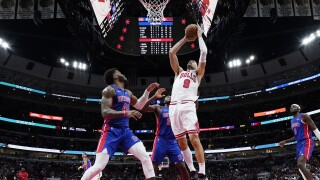 Nikola Vucevic, Saddiq Bey, Isaiah Stewart Pistons Bulls Basketball