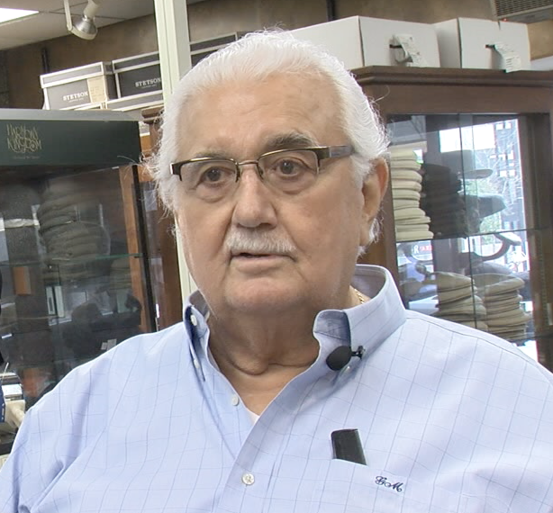 Gus Miller, owner of Batsakes Hat Shop.
