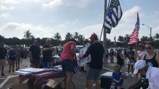 Hundreds of Back The Blue demonstrators gather at Carlin Park in Jupiter to support law enforcement.