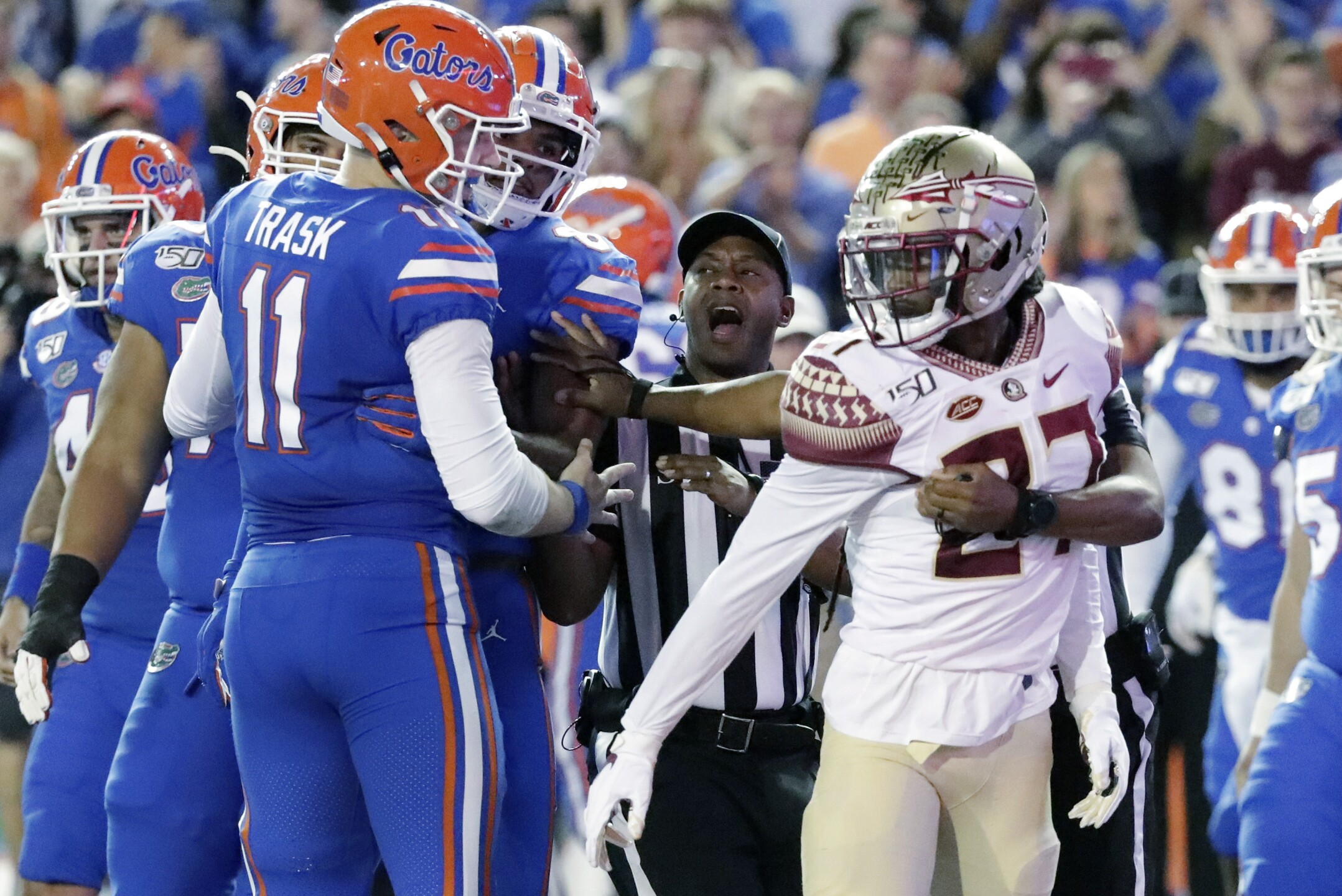 Argument between Florida Gators QB Kyle Trask and Florida State Seminoles defensive back Akeem Dent in 2019