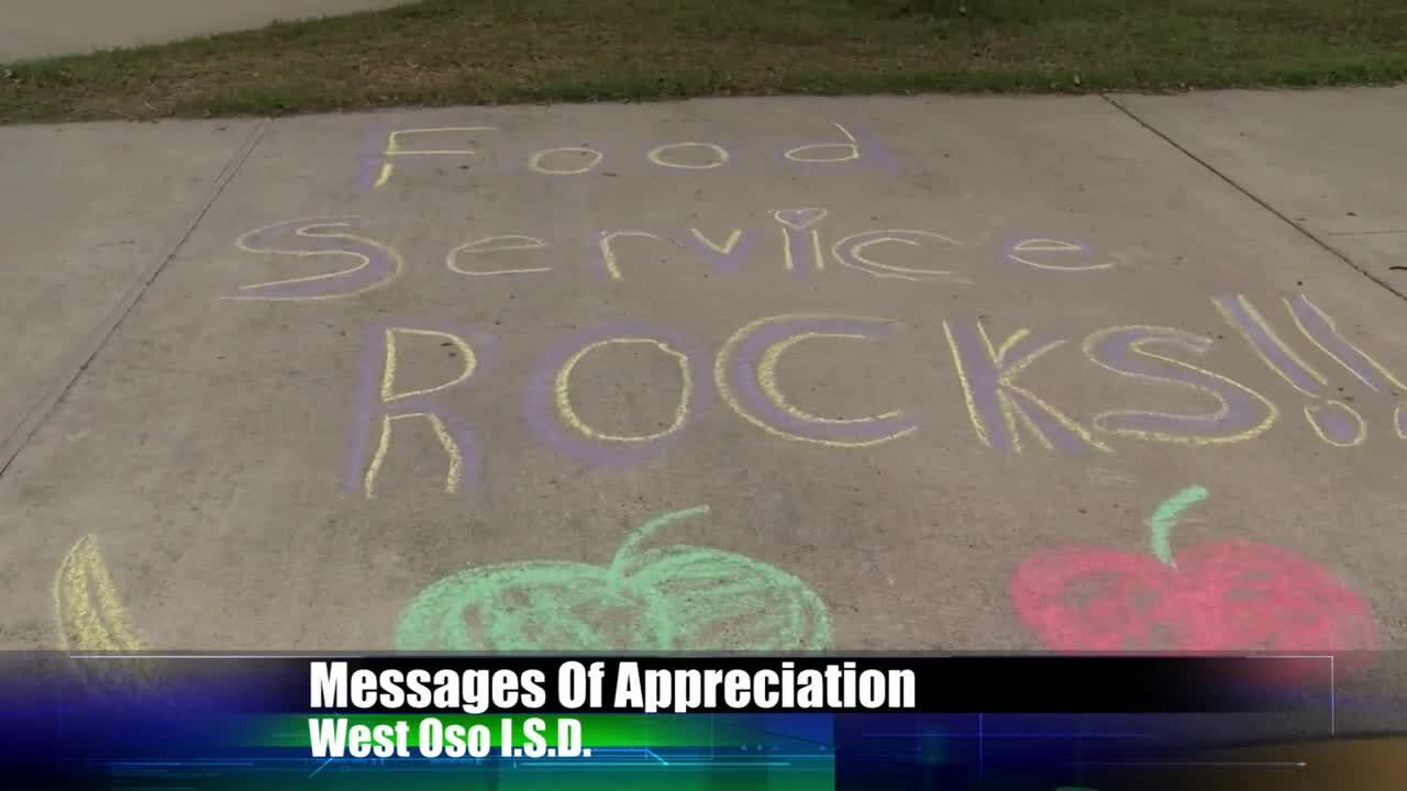 West Oso food service workers were surprised by chalk art